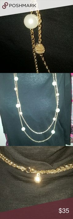 Long Pearl Necklace Beautiful long gold double strand necklace with gold beads and pearls Jewelry Necklaces