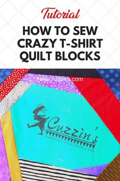 Tired of boring t-shirt quilts? Photo tutorial from NewQuilters.com shows you how to turn tee shirts into dramatic quilt blocks that make fabulous memory quilts and also use up your scraps! #t-shirtquilt #crazyquilt #scrappyquilt #quiltpiecing #tshirtquiltideas Quilting Room, Quilting Tips, Quilting For Beginners, Sewing Projects For Beginners, Scrappy Quilts, Easy Quilts, Crazy Quilt Blocks, Memory Quilts, Shirt Quilts
