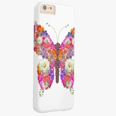 iPhone 6 Plus Cases | Pink Orange Floral Butterfly Girly Cute Collage Barely There iPhone 6 Plus Case