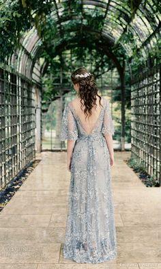 lovey by isha bridal spring 2016 illusion short sleeves vneck column wedding dress (02) zv romantic