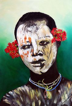 An original oil by Marcia Fountain-Blacklidge An African woman artist..her work happens in the absence of a mirror....