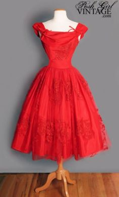 1950's Red Tulle Tea Length Princess Dress