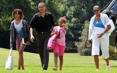 US President Barack Obama, First Lady Michelle Obama and their daughters Malia and Sasha disembark from the Marine One helicopter on the South Lawn of the White House in Washington, DC, upon their return from Camp David on July 19, 2009. AFP PHOTO/Jewel SAMAD (Photo credit should read JEWEL SAMAD/AFP/Getty Images) via @AOL_Lifestyle Read more: https://www.aol.com/article/lifestyle/2017/02/09/malia-obama-hair-weinstein-nyc/21710872/?a_dgi=aolshare_pinterest#fullscreen