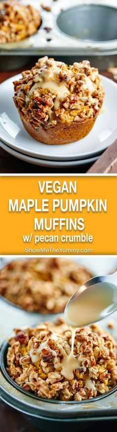 These healthy vegan pumpkin muffins are made w/ whole wheat flour & are naturally sweetened w/ maple syrup! They're topped w/ pecan streusel & maple glaze! http://showmetheyummy.com #pumpkin #vegan