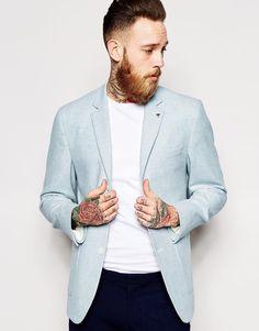 ASOS Slim Fit Blazer In Summer Tweed
