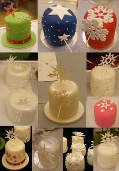 Pin by sweet collections on Cake Mini Christmas Cakes, Christmas Cake Decorations, Holiday Cakes, Christmas Treats, Xmas Cakes, Mini Cakes, Cupcake Cakes, Torta Candy, Purple Wedding Cakes