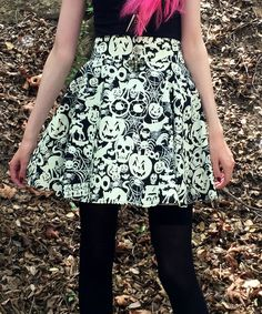 Black & White Creatures of the Night Circle Skirt - Plus Too