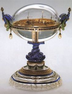 """Faberge Egg 1909 - """"Standart Egg"""". Currently in Moscow. Gift to Alexandra from her husband. Standart was the Russian imperial yacht."""