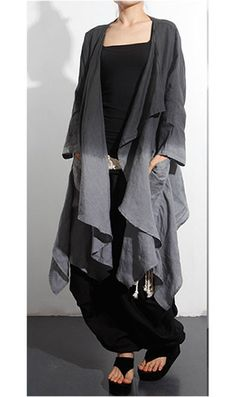 Gorgeous.  GET IN MY CLOSET RIGHT THIS MINUTE!  ~~~Linen Dress and Jacket Set ( Two Piece) in Black and Gray