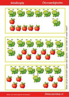 Citovaardigheden voor kleuters, kleuteridee.nl ,meten en getalbegrip, Waar zie je evenveel, waar meer en waar minder rupsen dan appels 3 , rekenen voor kleuters met veel lessuggesties Eric Carle, Chenille, Hungry Caterpillar, Pre School, Kids Gifts, Math Activities, Fun Learning, Fruit, Starters
