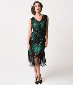 1920s Deco Green   Black Sequin Veronique Fringe Flapper Dress eb307f295