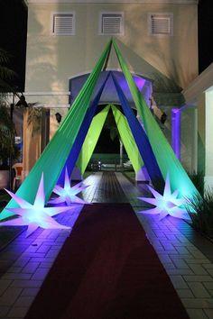 Quiz Eventos - Festa - Balada Neon-Laranja, verde, amarelo e azul