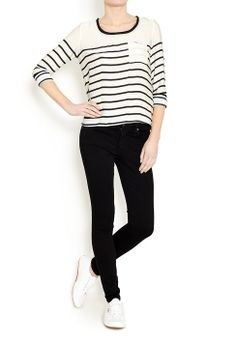 Striped Silk T-shirt by Maison Scotch | Buy from Maison Scotch online at London Boutiques