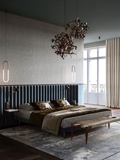 Beautiful interiors that combine an old warsaw mood with contemporary style. Featuring retro style furniture designs, rustic wood accent pieces and light decor. Contemporary Bedroom, Modern Bedroom, Contemporary Style, Master Bedrooms, Master Suite, Modern Art, Home Interior Design, Interior Decorating, Luxury Interior