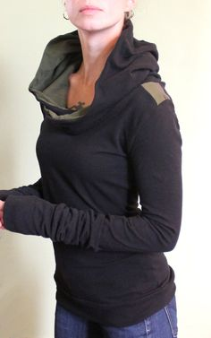 extra long sleeved hooded top/colorblock by joclothing on Etsy