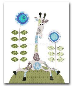 Giraffe Nursery art print Childrens Wall Art Baby by artbynataera, $14.00