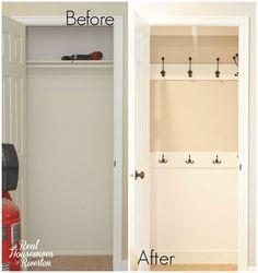 hall closet organization ideas and hall closet storage ideas - hooks instead of ., hall closet o Front Hall Closet, Hallway Closet, Closet Bedroom, Closet To Mudroom, Laundry Closet, Closet Space, Diy Bedroom, Closet Redo, Closet Remodel