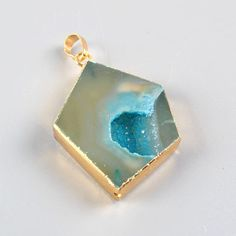 Blue agate DruZy Geode Gold Pendant G92819