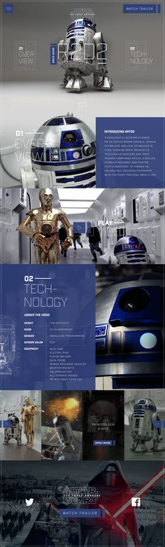 Star Wars R2D2 Droid Guide by Nathan Riley of Green Chameleon. Creative Web Design, Web Ui Design, Site Design, Website Layout, Web Layout, Layout Design, Interface Web, Interface Design, Design Digital