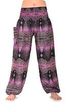 Bangkokpants Hippie Pants Peacock Black Purple Stripe One Size US Size 0-12