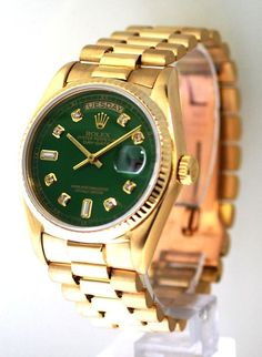 ccc4e8b3e Your next watch for that round of golf is a nice Rolex President yellow  gold with a custom green diamond dial with 8 rounds and 2 baguettes and a  fluted ...