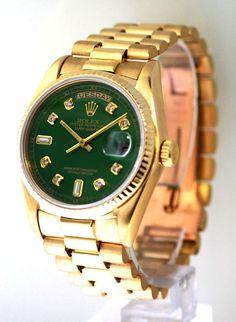 Rolex Mens President Green Diamond Dial / Fluted Bezel - Great #Rolex #Fashion