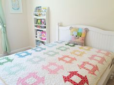 Oh, how sweet! Quilting Tips, Quilting Projects, Sewing Projects, Scrappy Quilts, Baby Quilts, Layer Cake Patterns, Churn Dash Quilt, Rainbow Quilt, Creative Outlet