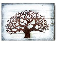 Artisan Crafted Wood and Iron Plasma Cut | Wall Decor | Metal Wall Art | Med Tree