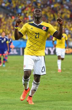 FIFA World Cup 2014 - Colombia 4 Japón 1 (6.24.2014) Jackson Martinez of Colombia celebrates scoring his team's second goal during the 2014 FIFA World Cup Brazil Group C match between Japan and Colombia at Arena Pantanal on June 24, 2014 in Cuiaba, Brazil. Christopher Lee / Getty Images