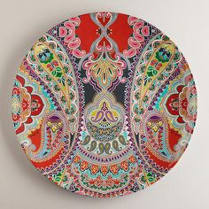 Wish I had room for a new set of outdoor dishes every year  Orange Paisley Antigua Platter from World Market