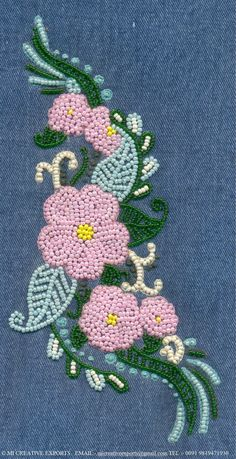 Pin by Carol Blake on Embroidery Bead Embroidery Tutorial, Bead Embroidery Patterns, Flower Embroidery Designs, Embroidery Jewelry, Zardozi Embroidery, Silk Ribbon Embroidery, Beaded Embroidery, Cactus Embroidery, Bordados Tambour
