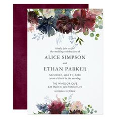 Wedding Themes Blue And Burgundy Watercolor Floral Wedding Invitation - Our elegant blue and burgundy features a watercolor floral drop with gold accents and hand drawn foliages. Perfect for winter and fall weddings. Invitation Baby Shower, Couples Shower Invitations, Engagement Party Invitations, Wedding Invitation Cards, Wedding Cards, Dinner Invitations, Invite, Engagement Parties, Invitations Online