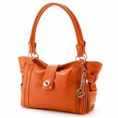La Diva Buckled Shoulder Bag in ORANGE #handbag