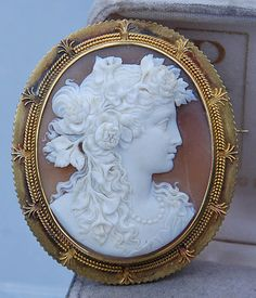 Exceptional Antique Victorian 10K Gold Hand Carved Shell Cameo Portrait Brooch | eBay