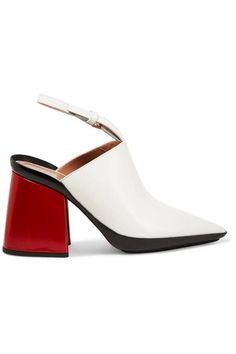 Heel measures approximately 90mm/ 3.5 inches White and red leather Buckle-fastening slingback strap Made in ItalySmall to size. See Size & Fit notes.