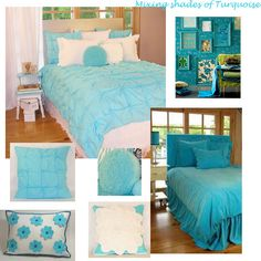 Turquoise teen girls bedding