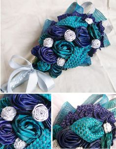 Armheld blue, purple and turquoise bridal bouquet with silver plaited flax buds Flax Weaving, Flax Flowers, Maori Designs, Flower Ideas, Flower Bouquet Wedding, Floral Arrangements, Purple, Blue, Crochet Necklace