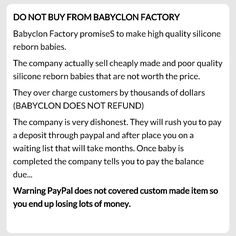 #Babyclon rip off report. Do not pay this company through friends & family on PayPal. They screwed me out of  $2500!