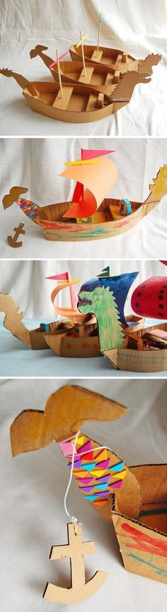 "DIY Cardboard Ships-Put simple basic directions on a chart in an ""after I'm finished"" center. Add a few pictures of ships and boats for reference, some books (Thanksgiving-Native American, Miss Rumphias) and let kids practice following written directions for the basic craft and create, create, create."