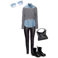 A fashion look from February 2015 featuring boatneck tops, long sleeve tops and black pants. Browse and shop related looks.