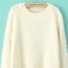 Beige Long-sleeve Oversized Sweater Beige Mohair Oversized Sweater. One Size. Great Condition. Sweaters Crew & Scoop Necks