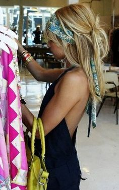 Love this vintage scarf worn this way .
