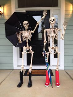 Halloween Ideas - For the month of October 'til Halloween, my dad changes up the scene of these 2 skeletons on his front porch each day for the neighbors to check out. Very creative!