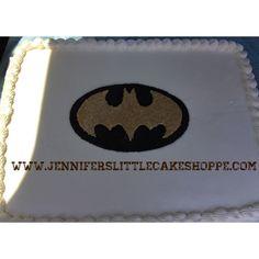 Groom's rehearsal dinner sheet cake - chocolate cake with raspberry filling and buttercream icing and fondant Batman - From Jennifer's Little Cake Shoppe, Fleming Island, Florida www.jenniferslittlecakeshoppe.com