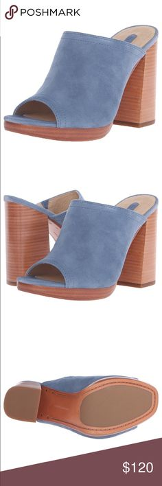 """frye // blue suede mules NIB Frye blue suede mules. Peep toe and 4"""" platform stacked heel. Super comfortable and fits TTS. Frye Shoes"""