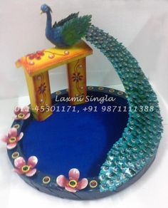 Paper Mache Peacock Tray Rs.4800 Wedding Gift Wrapping, Wedding Cards, Wedding Gifts, Diwali Decorations, Wedding Decorations, Paper Mache Diy, Material Flowers, Wedding Plates, Mural Art