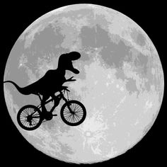 Shop Dinosaur bike and MOON by BubbSnugg available as a T Shirt, Art Print, Phone Case, Tank Top, Crew Neck, Pullover, Zip.