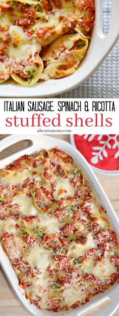 Italian Sausage, Spinach and Ricotta Stuffed Shells recipe. Jumbo pasta shells filled with a mixture of sweet Italian sausage, spinach and ricotta cheese. Smothered in a chunky red sauce and topped wi. Stuffed Shells With Meat, Spinach Stuffed Shells, Stuffed Shells Recipe, Baked Stuffed Shells, Lasagna Stuffed Shells, Italian Stuffed Shells, Pastas Recipes, Spinach Recipes, Sausage Recipes