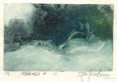 image of landscape monotype print Abkhazi #11 by David Ladmore depicting the Abkhazi Gardens, Victoria, BC