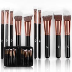 Magnifeko Professional Makeup Brushes Set With case (10-Piece Kit) Face, Eyeshadow, Blending, Contouring, Foundation | Synthetic Bristles | Round, Tapered, Kabuki and Angled. Beautiful Highlights & Contours - A luxury makeup artist set, apply makeup, foundation, creams and powders like a professional and capture the perfect tone. Gorgeous Foundation - Each makeup brush set comes with 10 total brushes giving your more range and control over blush, lip liners, concealers and natural makeup....